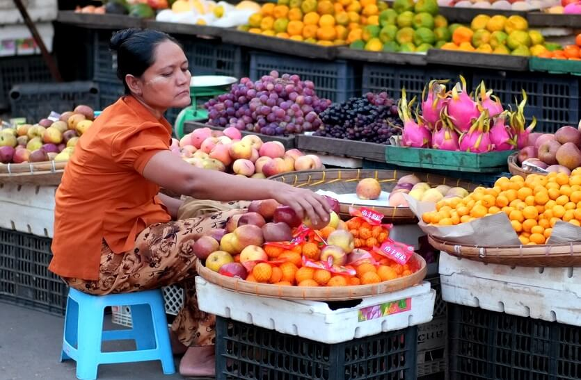 шоппинг в мьянме фрукты