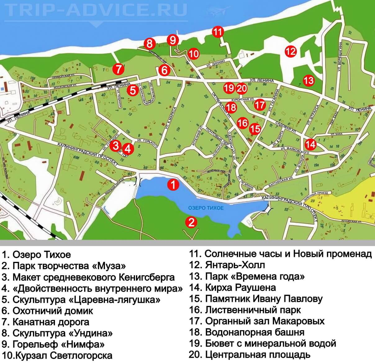 карта светлогорска с достопримечательностями